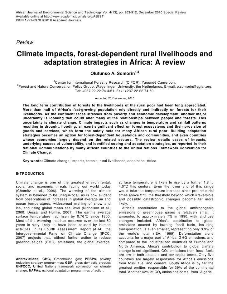 Climate Change Impacts: Destruction of Africa Forest-Dependent Rural Livelihoods