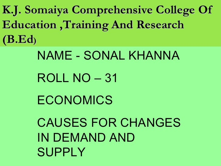 K.J. Somaiya Comprehensive College Of Education ,Training And Research (B.Ed ) NAME - SONAL KHANNA ROLL NO – 31 ECONOMICS ...