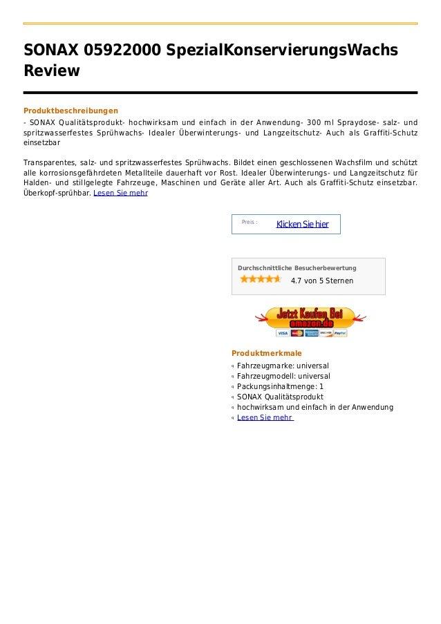 SONAX 05922000 SpezialKonservierungsWachsReviewProduktbeschreibungen- SONAX Qualitätsprodukt- hochwirksam und einfach in d...