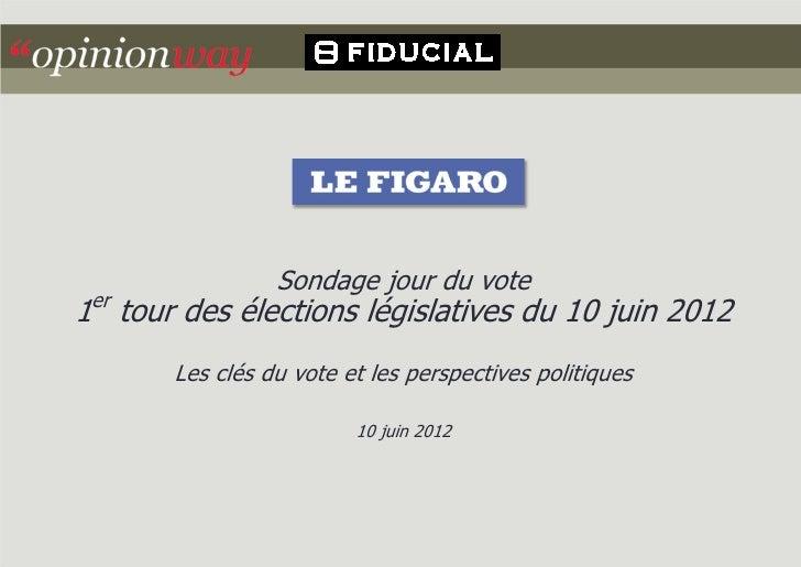 Sondage jour du vote er1 tour des élections législatives du 10 juin 2012       Les clés du vote et les perspectives politi...