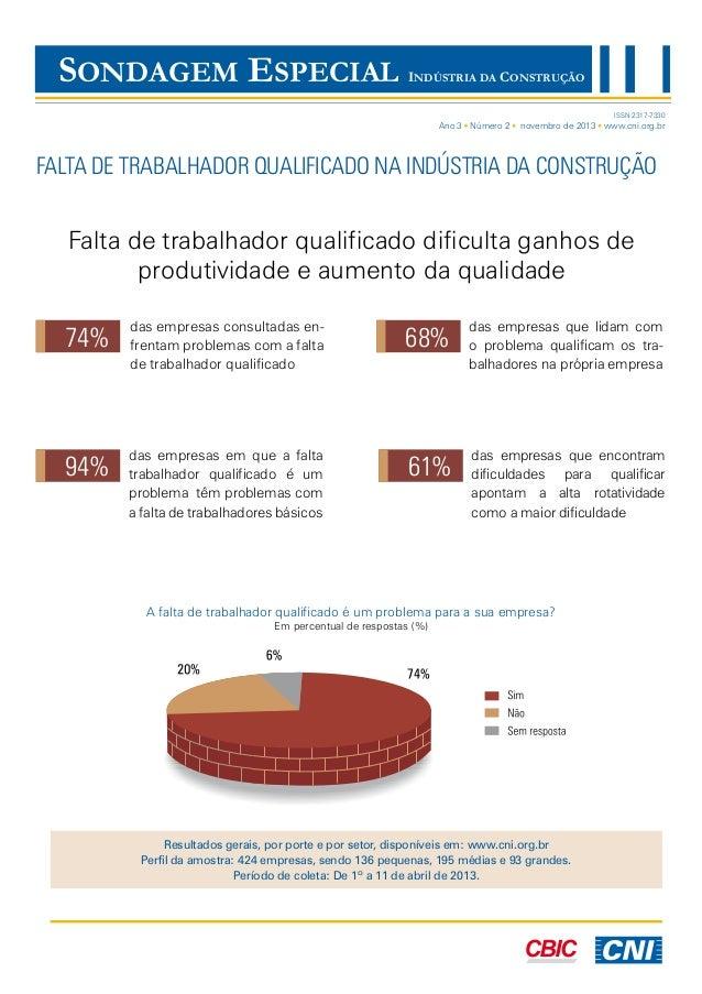 SONDAGEM ESPECIAL  INDÚSTRIA DA CONSTRUÇÃO ISSN 2317-7330  Ano 3 Número 2  novembro de 2013 www.cni.org.br  FALTA DE TRABA...
