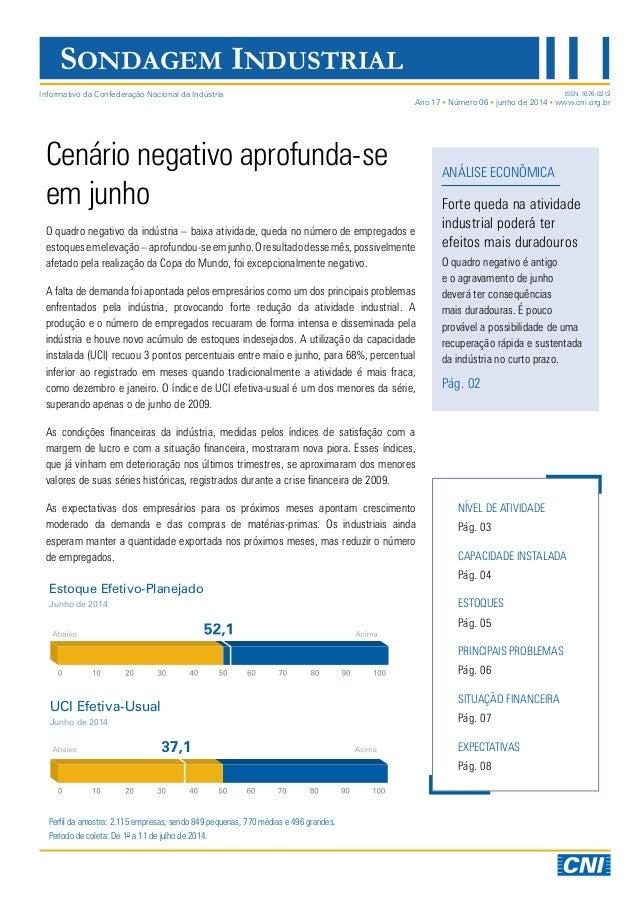 Sondagem Industrial   Junho de 2014   Divulgação 18/07/2014