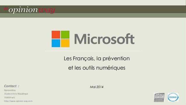 Sondage OpinionWay pour Microsoft: le numérique et la prévention (mai 2014)