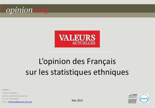 1pour – L'opinion des Français sur les statistiques ethniques – Mai 2015 Contact : Frédéric MICHEAU Directeur des études d...