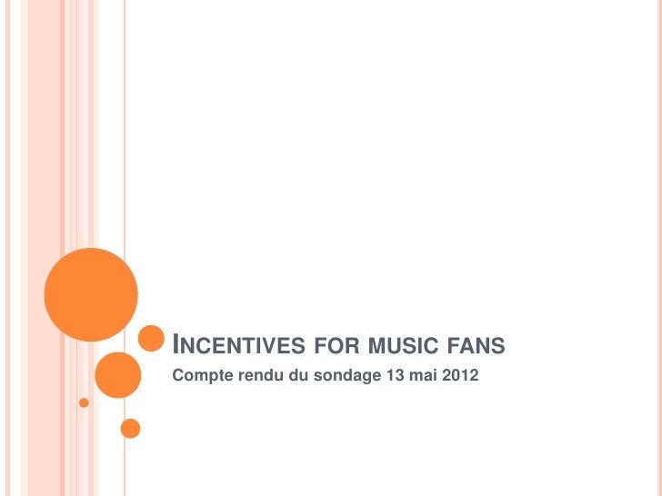 INCENTIVES FOR MUSIC FANSCompte rendu du sondage 13 mai 2012
