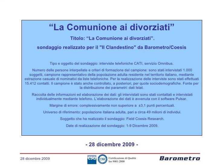 Sondaggio Comunione Ai Divorziati   Dic.2009