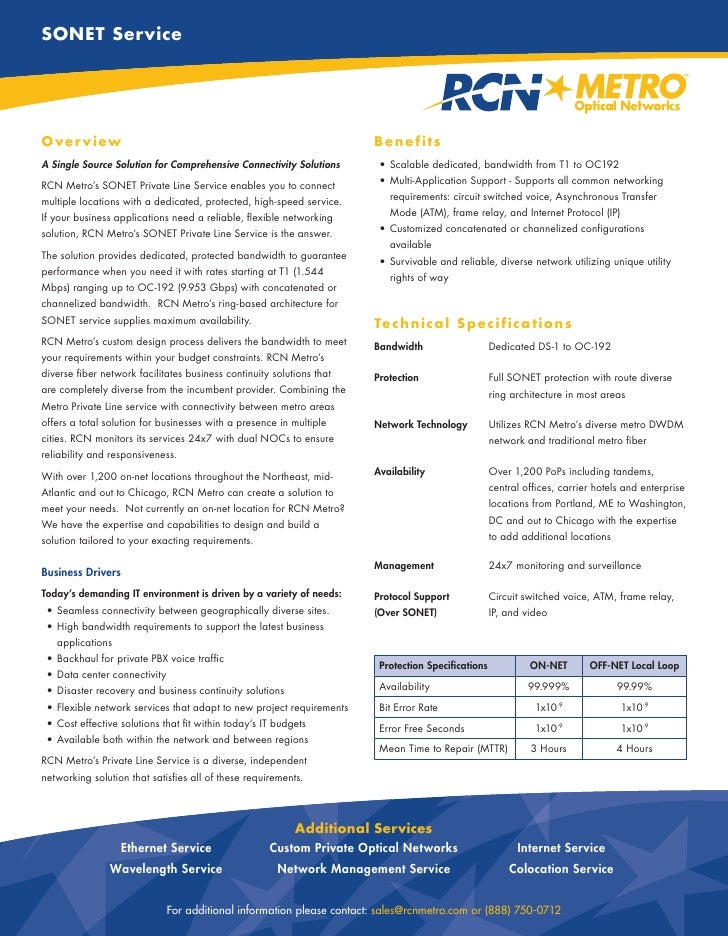 SONET Service     O ver view                                                             Benefits A Single Source Solution...