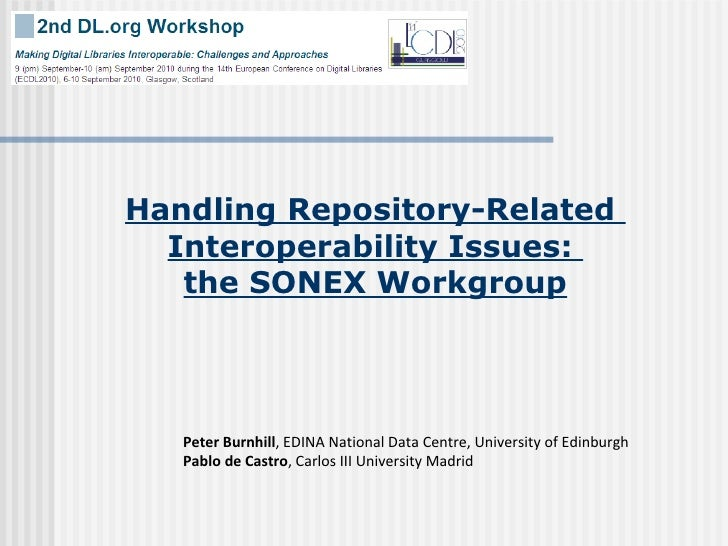 Handling Repository-Related  Interoperability Issues:  the SONEX Workgroup Peter Burnhill , EDINA National Data Centre, Un...