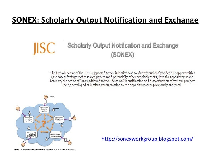 SONEX: Scholarly Output Notification and Exchange http://sonexworkgroup.blogspot.com/