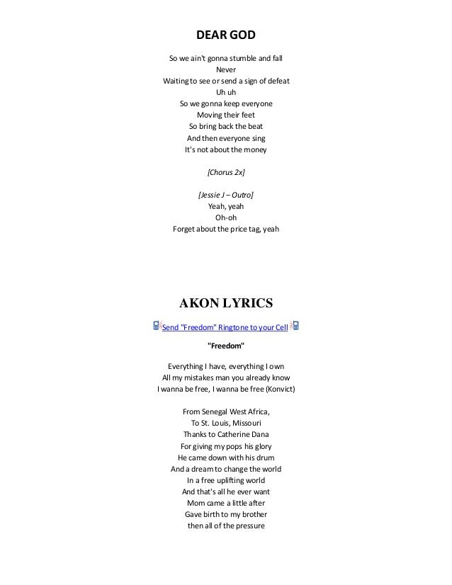 Song lyrics by akon