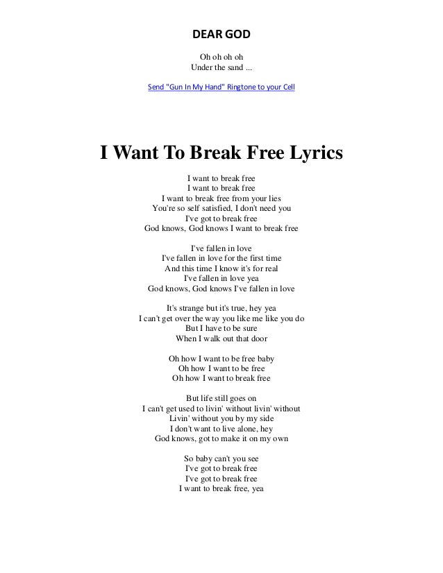 Lyrics to break free by of mice and men
