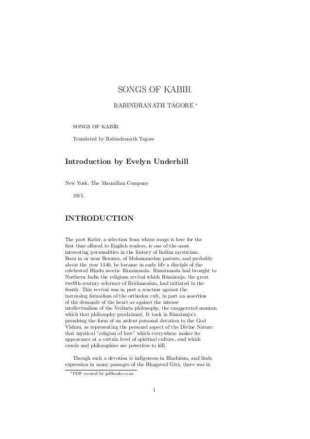 SONGS OF KABIR                                                       ∗                        RABINDRANATH TAGORE   SONGS ...