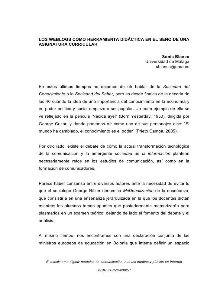 LOS WEBLOGS COMO HERRAMIENTA DIDÁCTICA EN EL SENO DE UNA ASIGNATURA CURRICULAR                                            ...