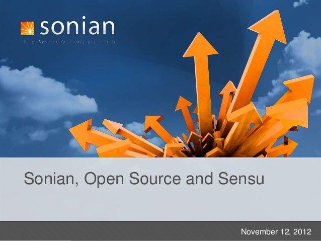 Sonian, Open Source and Sensu                          November 12, 2012