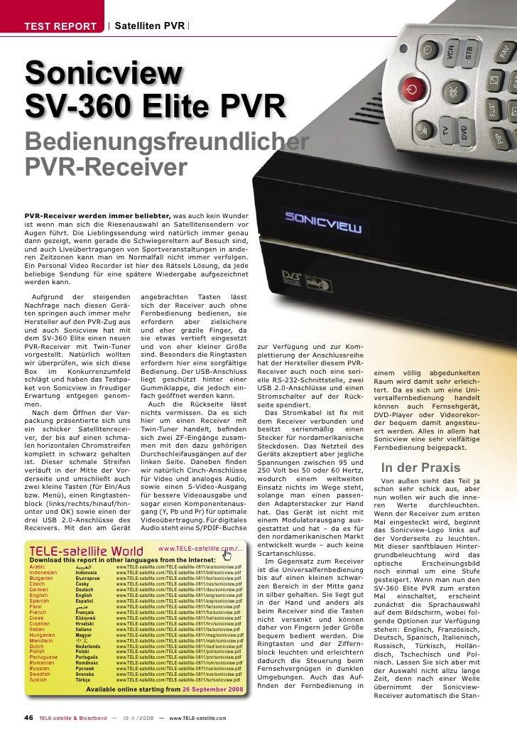 TEST REPORT                  Satelliten PVR     Sonicview SV-360 Elite PVR Bedienungsfreundlicher PVR-Receiver PVR-Receive...