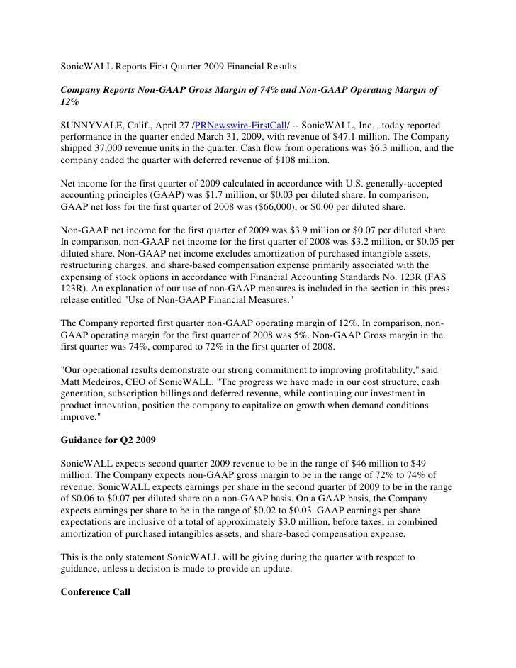 SonicWALL Reports First Quarter 2009 Financial Results  Company Reports Non-GAAP Gross Margin of 74% and Non-GAAP Operatin...
