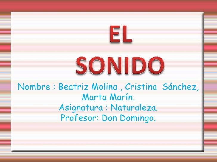 EL SONIDO<br />Nombre : Beatriz Molina , Cristina  Sánchez,<br />Marta Marín.<br />Asignatura : Naturaleza.<br />Profesor:...