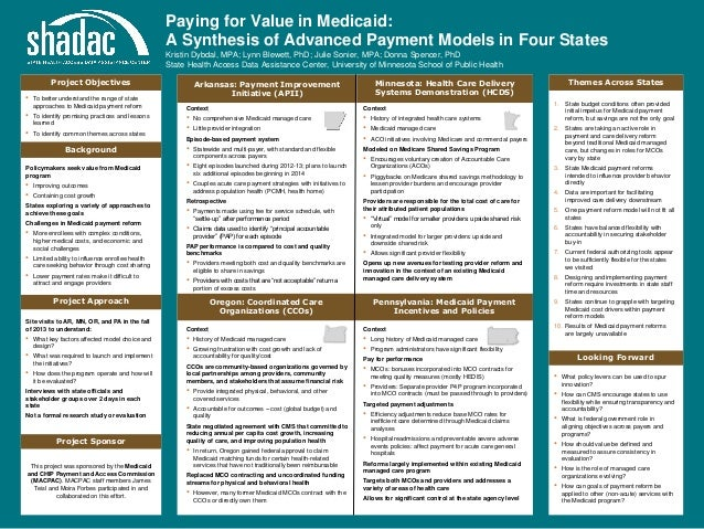 Paying for Value in Medicaid: A Synthesis of Advanced Payment Models in Four States Kristin Dybdal, MPA; Lynn Blewett, PhD...