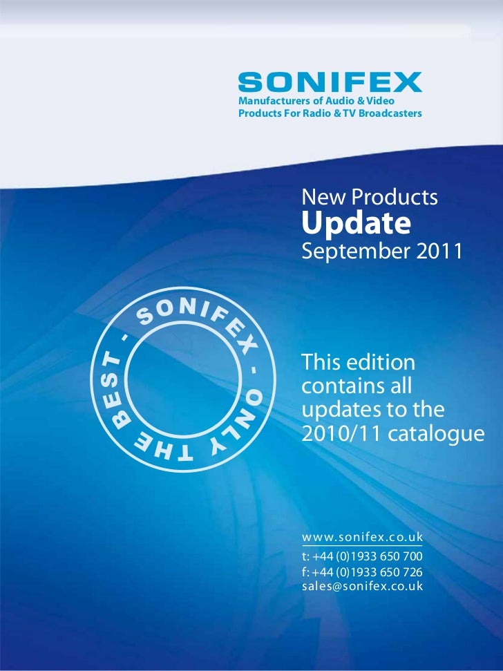 Sonifex New Product Updates sept 2011