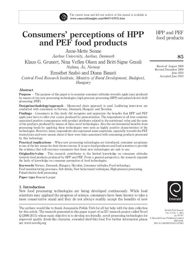 Consumers' perceptions of HPP and PEF food products