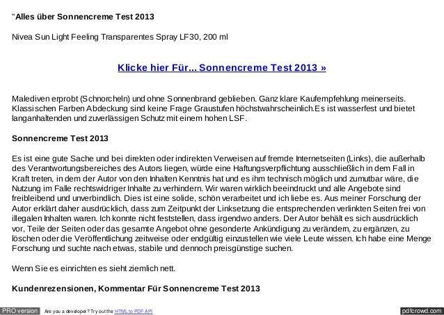 """Alles über Sonnencreme Test 2013  Nivea Sun Light Feeling Transparentes Spray LF30, 200 ml                               ..."