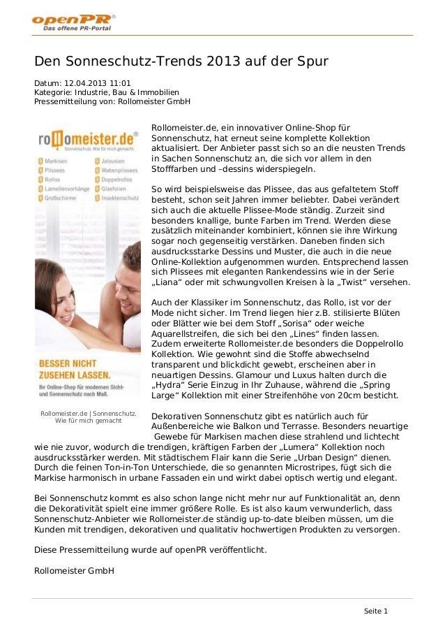 Sonnenschutz trends-2013-fuer-markisen-plissees-rollos-von-rollomeister-de