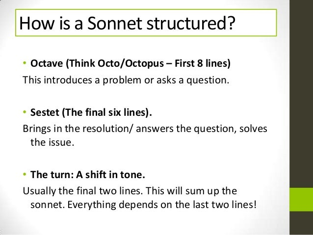 how are shakespeare sonnets structure