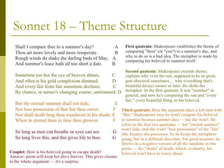 Sonnet 18 quatrain analysis essay