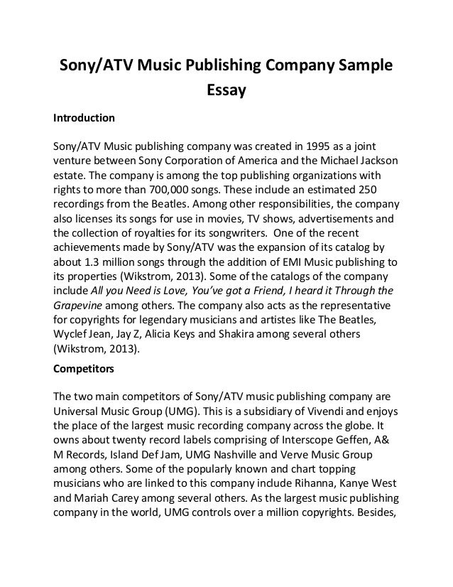 Essay on music business
