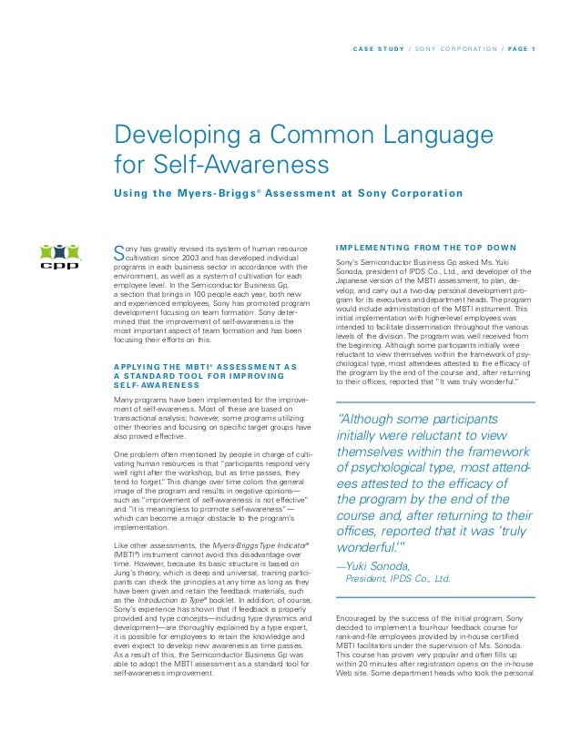 C A S E S T U DY / S O N Y C O R P O R AT I O N / PA G E 1Developing a Common Languagefor Self-AwarenessU s i n g t h e M ...