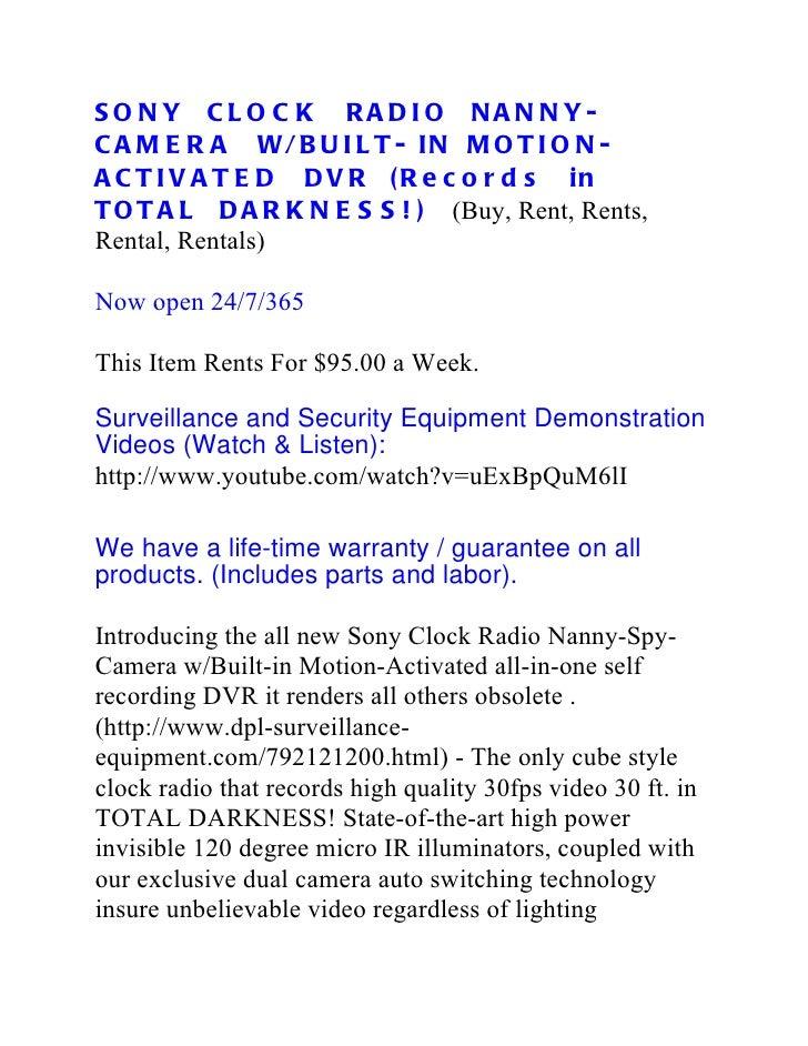 Sony Clock Radio Nanny Spy-Camera W/Built-in Motion-Activated DVR