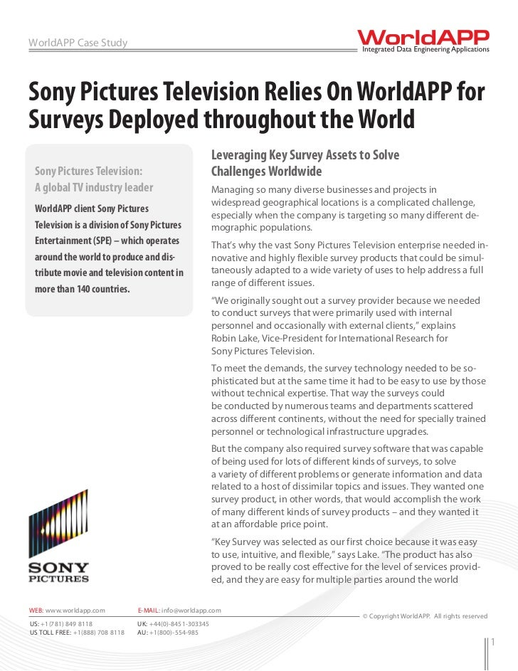 WorldAPP Case StudySony Pictures Television Relies On WorldAPP forSurveys Deployed throughout the World                   ...