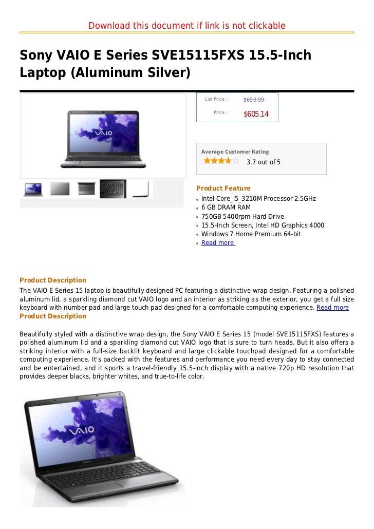 Sony vaio e series sve15115 fxs 15.5 inch laptop (aluminum silver)