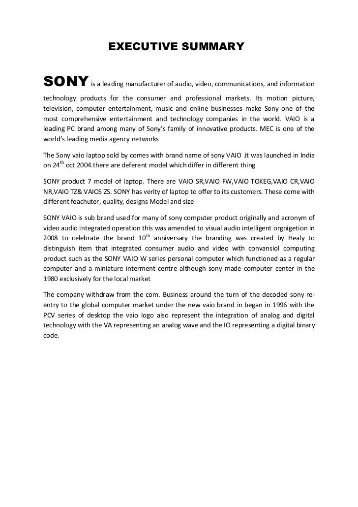 sony vaio marketing plan The company's chief executive yoshimi ota told the wall street journal that under sony, vaio had concentrated too much on market share over profitability  we are not interested in cheap models for everyone, ota told the publication, with the company planning to target users in the creative industry.