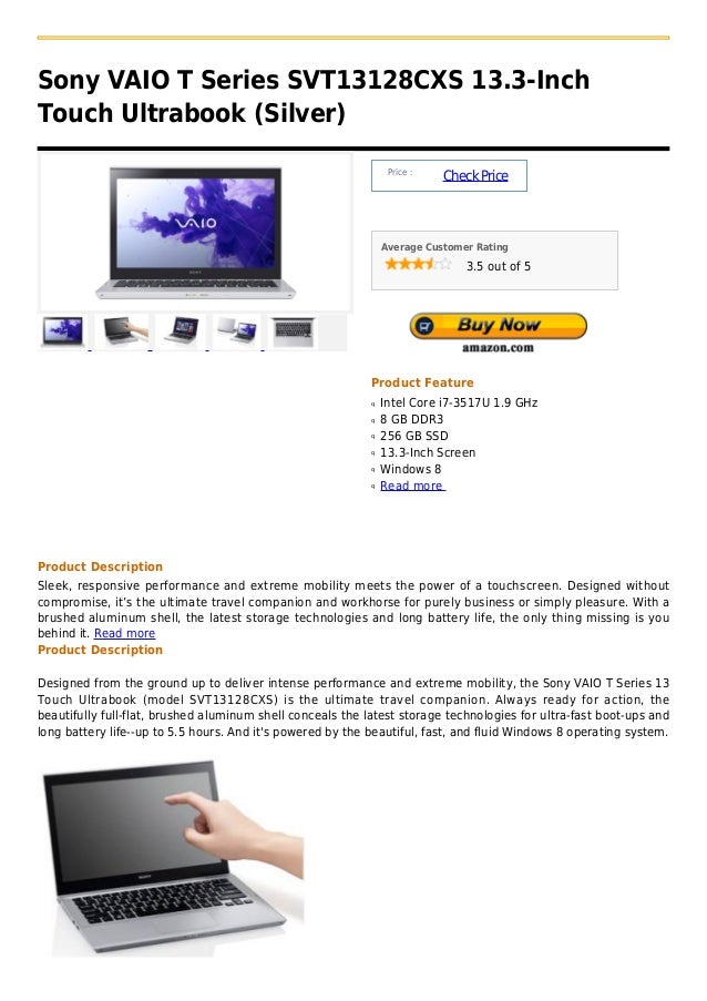 Sony VAIO T Series SVT13128CXS 13.3-InchTouch Ultrabook (Silver)                                                          ...
