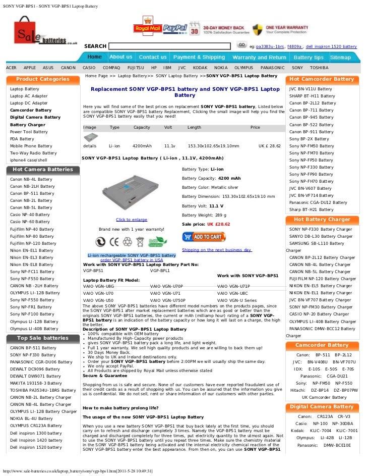 SONY VGP-BPS1 - SONY VGP-BPS1 Laptop Battery                                             SEARCH                           ...
