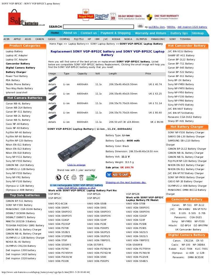 Sony vgp-bps2c - sony vgp-bps2c laptop battery
