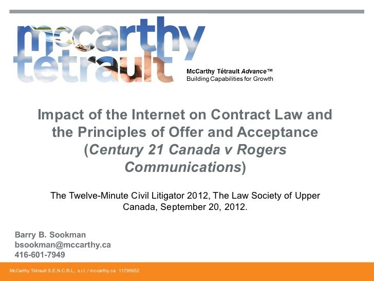 Impact of the Internet on Contract Law and               the Principles of Offer and Acceptance                    (Centur...