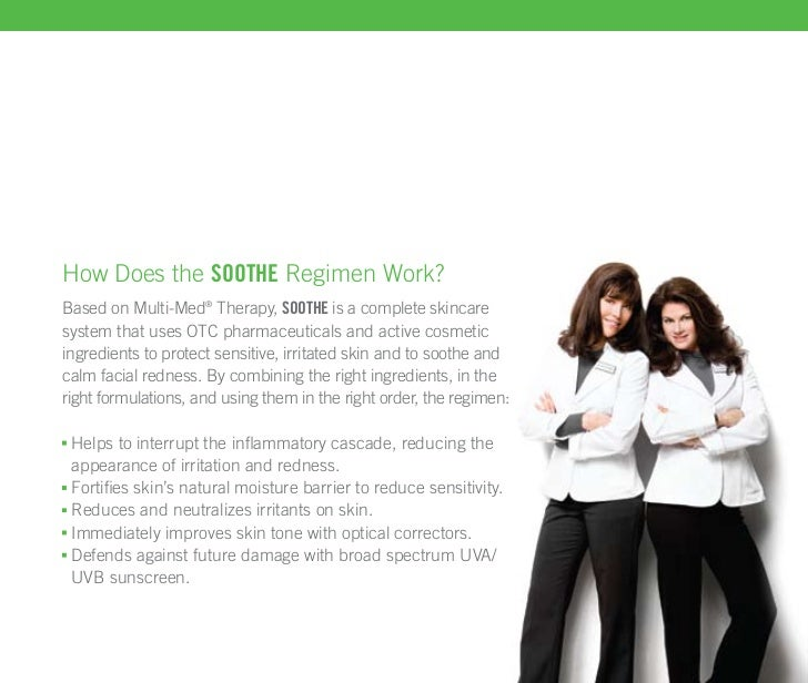 How Does the soothe Regimen Work?Based on Multi-Med® Therapy, soothe is a complete skincaresystem that uses OTC pharmaceut...