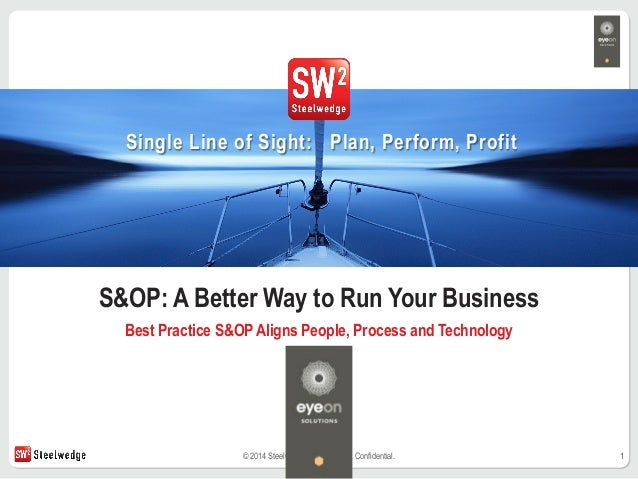 1© 2014 Steelwedge Software, Inc. Confidential. Single Line of Sight: Plan, Perform, Profit S&OP: A Better Way to Run Your...