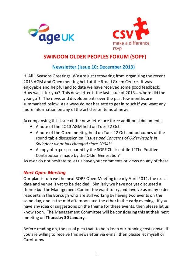 SWINDON OLDER PEOPLES FORUM (SOPF) Newsletter (Issue 10: December 2013) Hi All! Seasons Greetings. We are just recovering ...