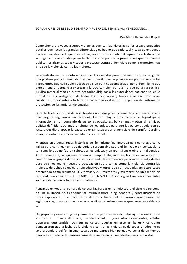 Soplan aires de rebelion dentro del feminismo venezolano