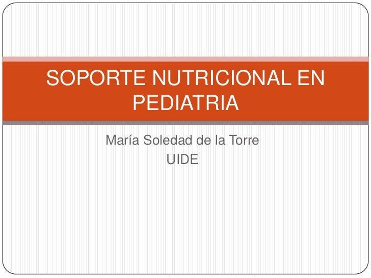 Soporte nutricional en pediatria