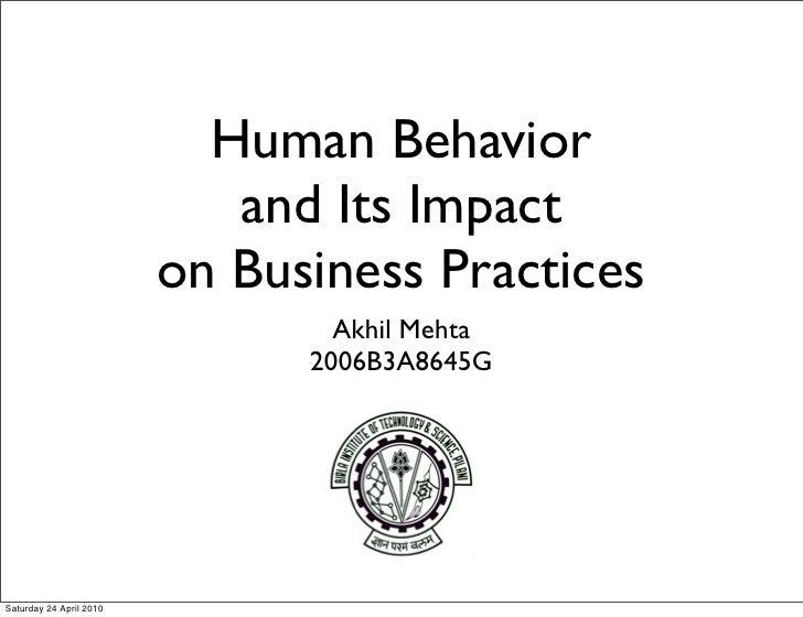 Behavioral Economics & Impact on Business Practices