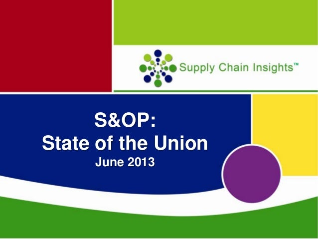 June 12th S&OP Webinar by Supply Chain Insights, LLC