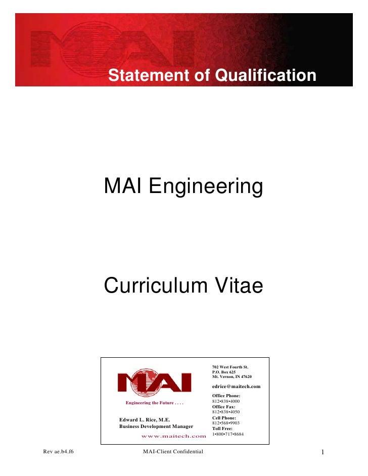 Statement of Qualification                    MAI Engineering                   Curriculum Vitae                          ...