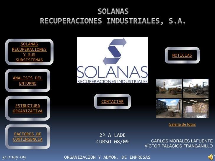 SOLANAS    RECUPERACIONES         Y SUS                                                NOTICIAS     SUBSISTEMAS       ANÁL...