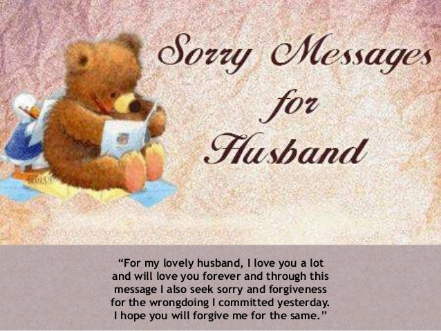 How to say sorry to my husband