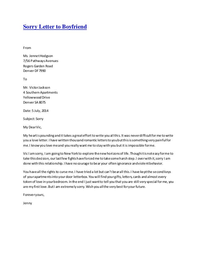 Sorry Letter To Boyfriend