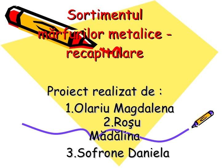 Sortimentul m ă rfurilor metalice - recapitulare Proiect realizat de :  1.Olariu Magdalena   2. Ro ş u  M ă d ă lina 3.Sof...